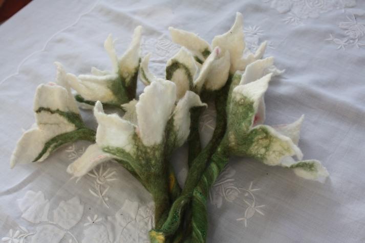 White felt bouquet. Similar flower available to order